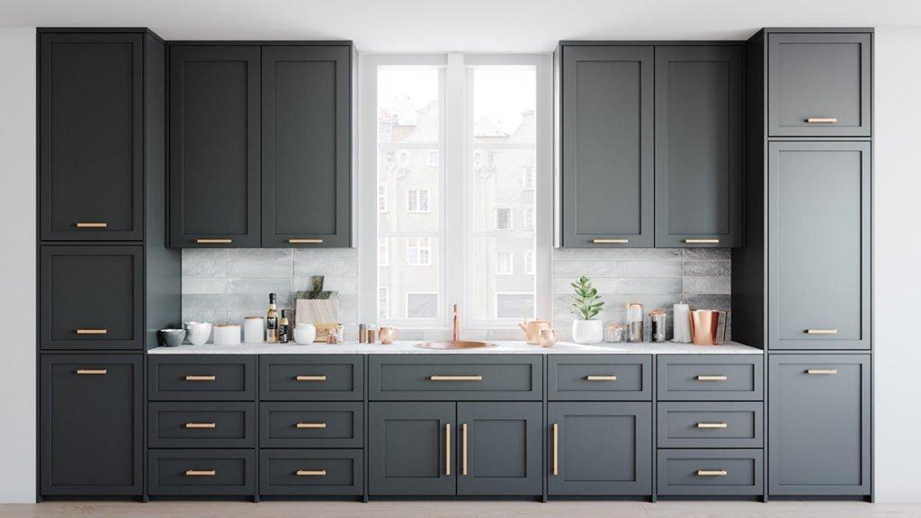 Tủ bếp cao kịch trần được thiết kế 2 tầng với chiều cao dao động từ 220 đến 225cm